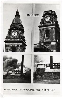 Views of Morley Town Hall before, during and after the fire in 1961