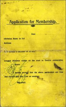 Application for membership to a cycling club