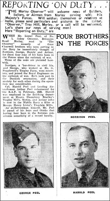 Morley Observer article and  photo of Peel brothers on active service