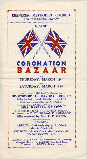 Coronation Bazaar at Ebenezer Methodist Church, Morley