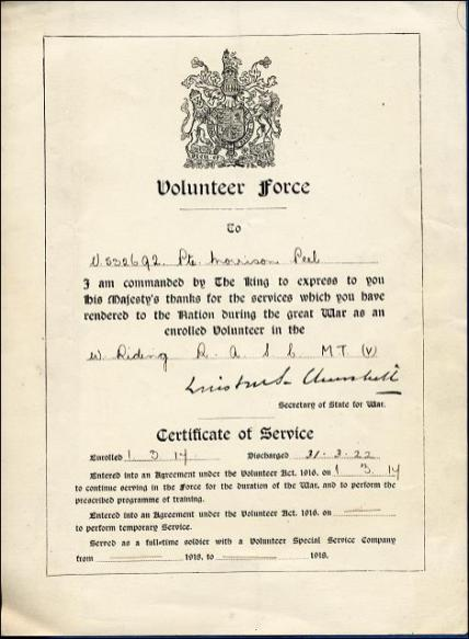 Certificate of Service in the Volunteer Force for Norrison Peel, a Morley man