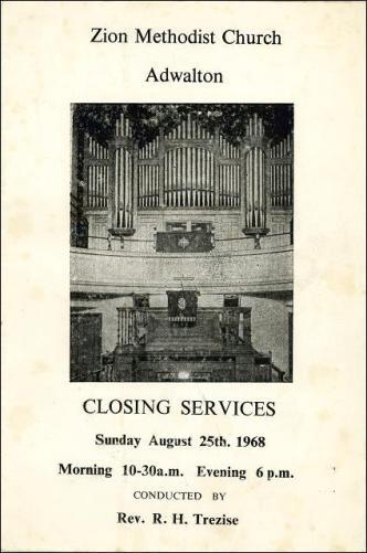 The closing service of the Zion Methodist Church, Adwalton