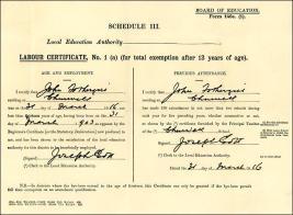 Labour certificate for John Fothergill, born 31.3.1903