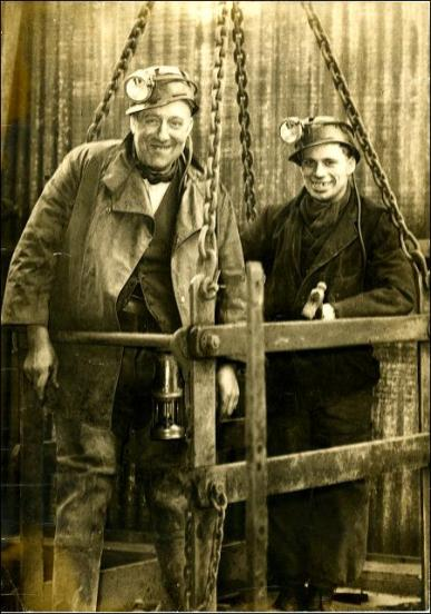 George Slingsby, shaftsman, with a refugee from the Hungarian Revolution at the top of Topcliffe Pit shaft