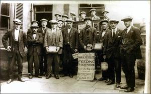 Photo of miners outside Labour Club, Morley during the pit strike 1926