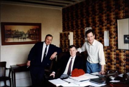 Ken Ellis, Geoff Stockwell and Charles Wood in the office at Stockwell's