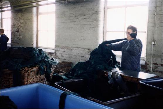 June Hill works on some rags at Stockwell's