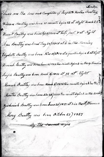 A page from the Family Bible of Joseph Bentley