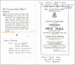 Souvenir Programme of the opening of The Salvation Army New Hall