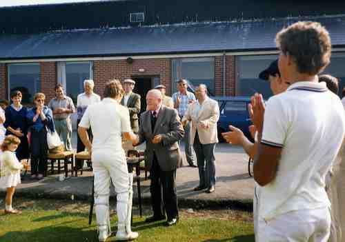 Mr George Atkinson presents the T.K. Brumfitt Cup