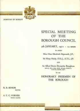 Presentation Programme of the Freedom of the Borough of C. Hepworth, H. Hardy and A Broughton