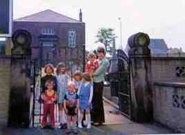 Sunday School children outside Morley Zion Chapel