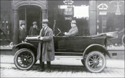 Lionel Hainsworth with one of his first motor cars