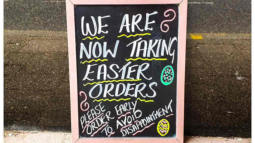 Easter orders chalk board
