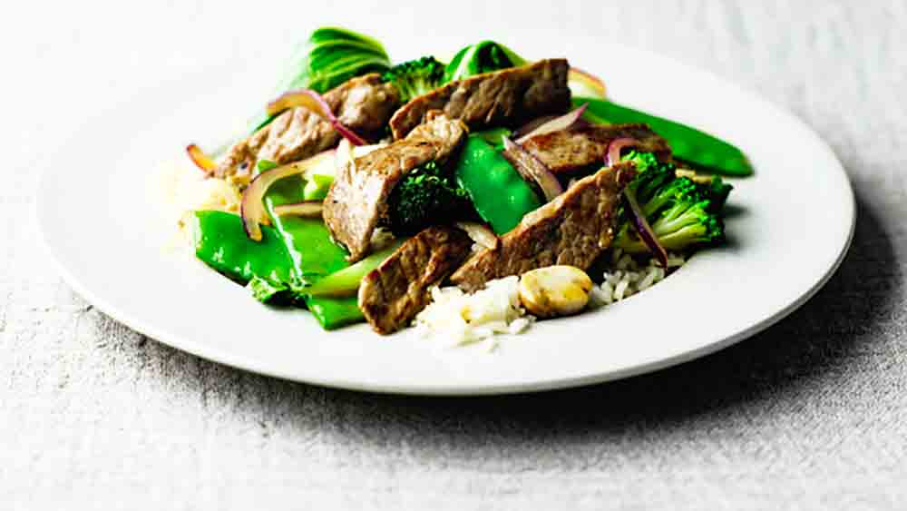 beef stirfry on white plate