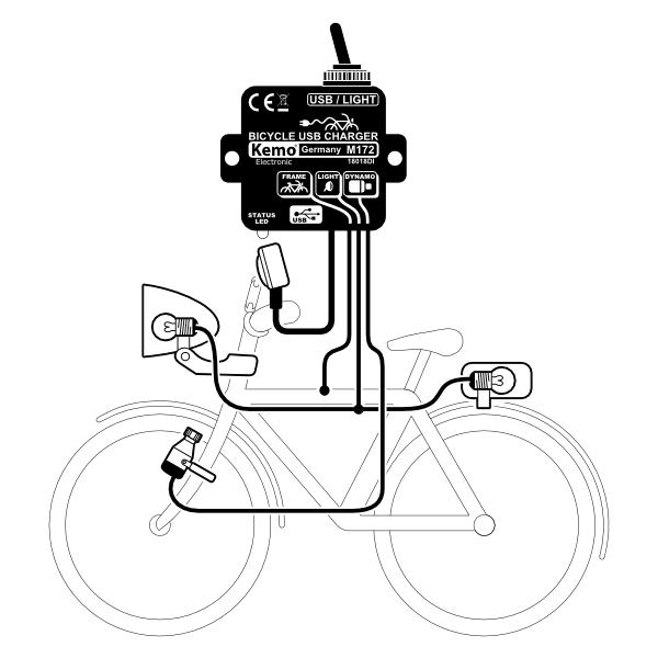 Laderegler KEMO M172 USB Mini B + Micro Ladegerät Fahrrad
