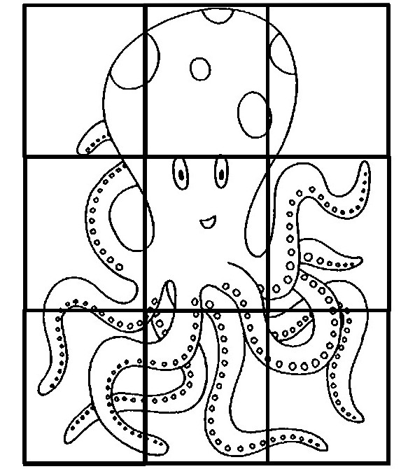 Coloring page Preschool Worksheets Summer : Puzzle: Octopus 1