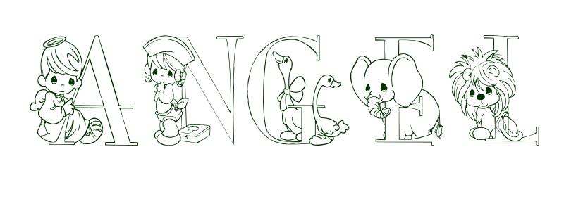 Coloring Page First Name Angel