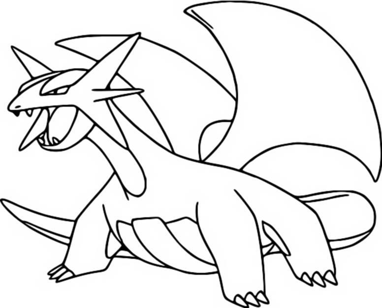 Desenhos para colorir Pokemon - Salamence - Desenhos Pokemon