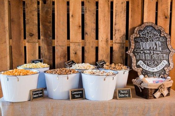 popcorn wedding food station ideas