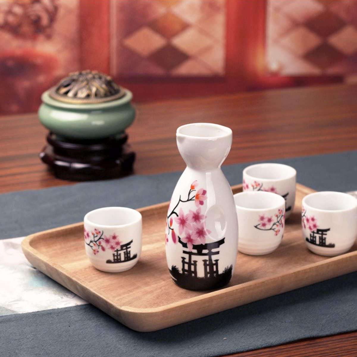 Ceramic Japanese Sake Set - Pink Blossom