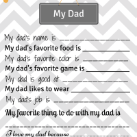 Handmade Gift for Dad - My Dad Printable Page