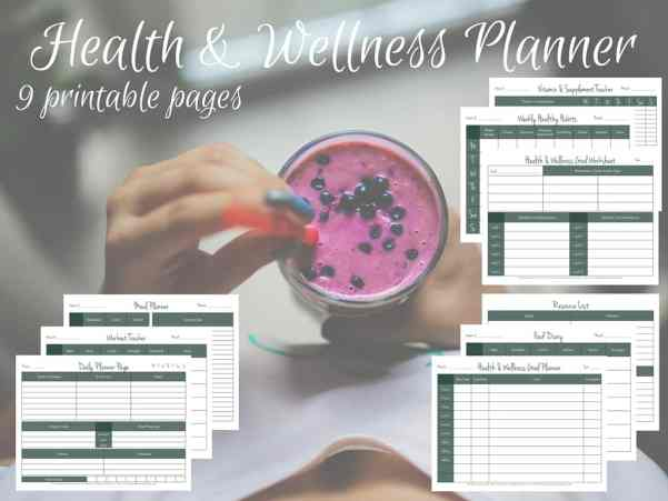 Health, Fitness, Wellness Printable Workbook