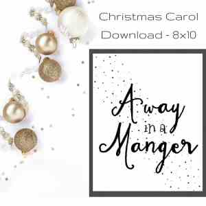 Away in a Manger Christmas Print