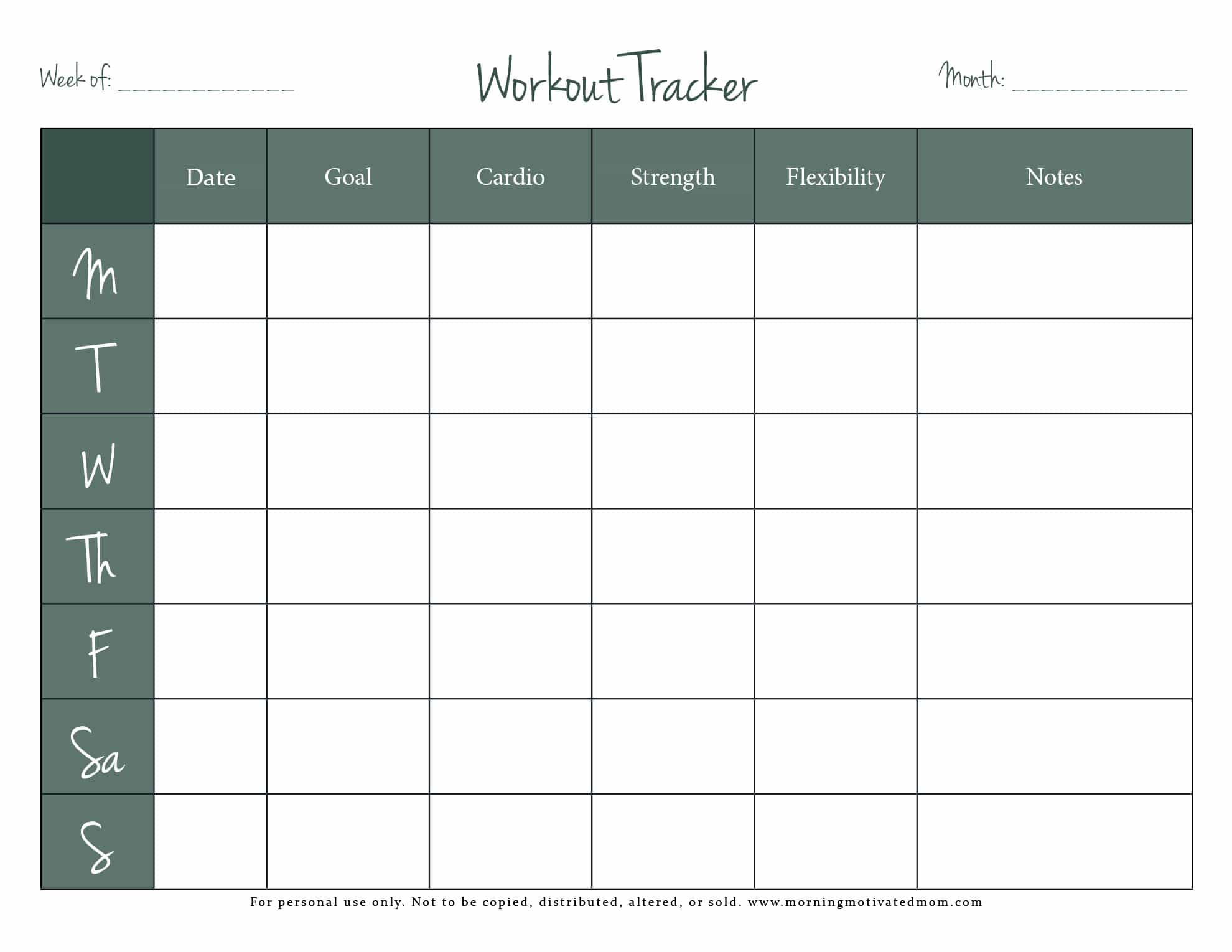 picture about Free Printable Workout Log called Absolutely free Health Tracker Printable Early morning Impressed Mother