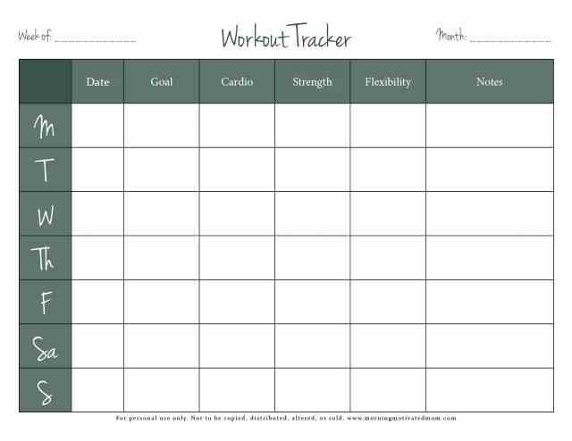 free fitness tracker printable morning motivated mom