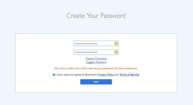 Set your Bluehost password.