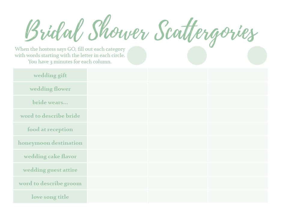 Bridal Shower Game and Free Scattergories Printable