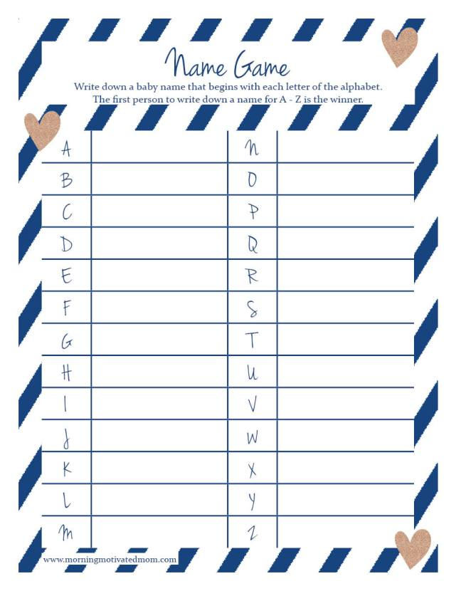 Baby Shower Name Game Printable in Blue. Free.