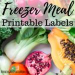 Freezer Meal Labels Printable