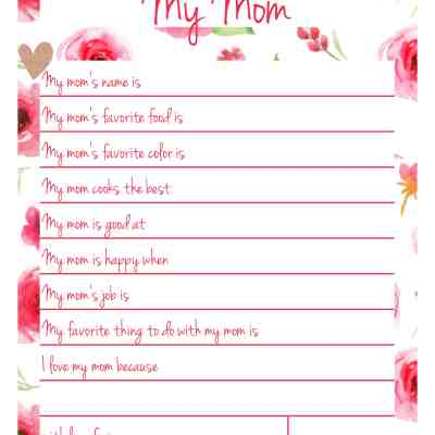 All About Mom Printable – Handmade Gift for Mom