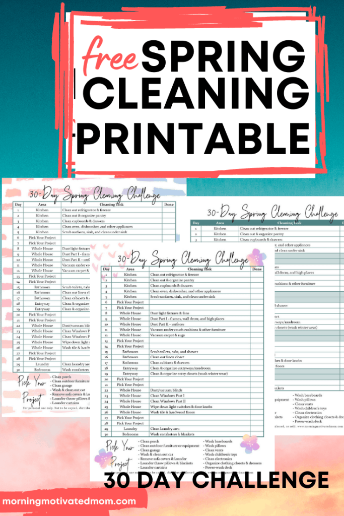 Get organized and clean your home with this FREE 30 Day Spring Cleaning Challenge. Get the Cleaning List Printable to help you stay organized on on task. | Spring Clean | How to clean my home for spring #springcleaning #springclean #30daychallenge #cleaningtips