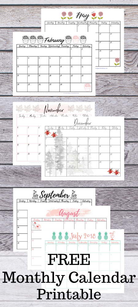 Free Monthly Calendar Printable | Get a new monthly calendar sent to you each month. | Free Printables | Organization Tips | Stay Organized and Write It Down!