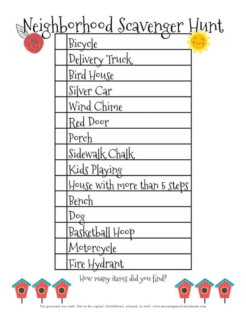 Are you looking for a way to get fresh air, exercise, and also bond as a family? Print off this Free Printable and take a walk with your family: Free Neighborhood Scavenger Hunt Printable