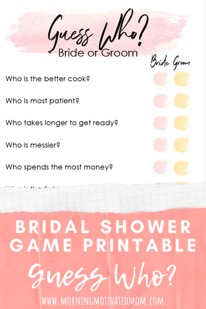 Fun and Low-Key Bridal Shower Games - Bridal Shower Game Printable Guess Who? Bride or Groom. Free Printable Shower Games.