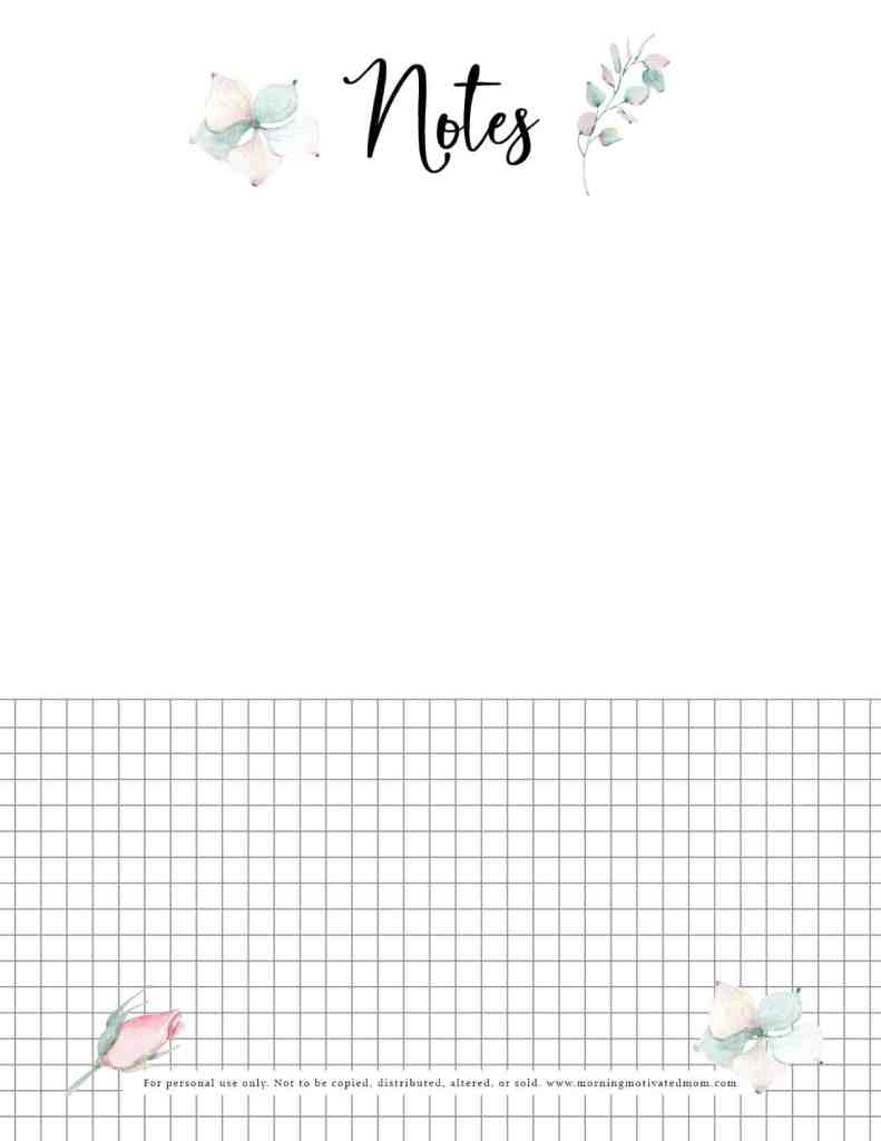 The Notes Page on this Free Garden Planner Printable will help you stay organized. rint off multiple pages of the Notes Page. You can add your notes as you plan this year, but don't forget to write notes throughout the planting season and throughout the rest of the summer. Your notes from this year may help you out in future years.