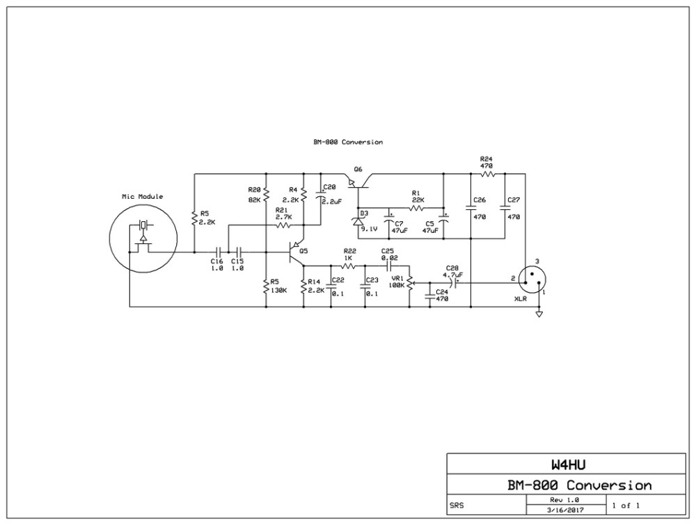 medium resolution of schematic with the component values in my converted bm 800 a few of the part values in my mic circuit vary from the g4izh schematic