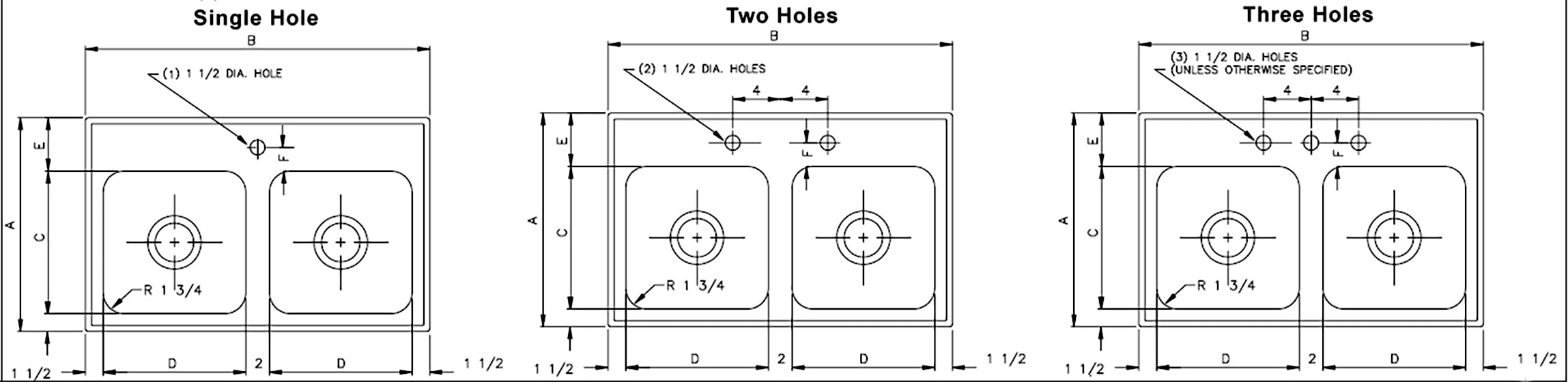standard hole size for a kitchen faucet