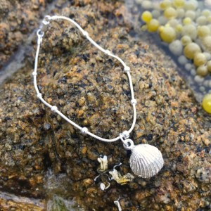 Mornington Sea Glass Shell Bead Detail Layer Bracelet