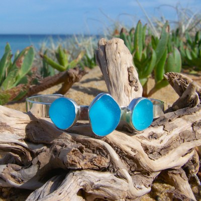 Turquoise cuff blue by Mornington Sea Glass