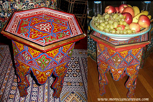 Moroccan handpainted table Tables Wood  Furniture from