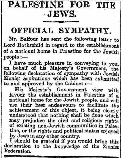 Balfour-Erklärung, veröffentlicht in der Times vom 9. November 1917