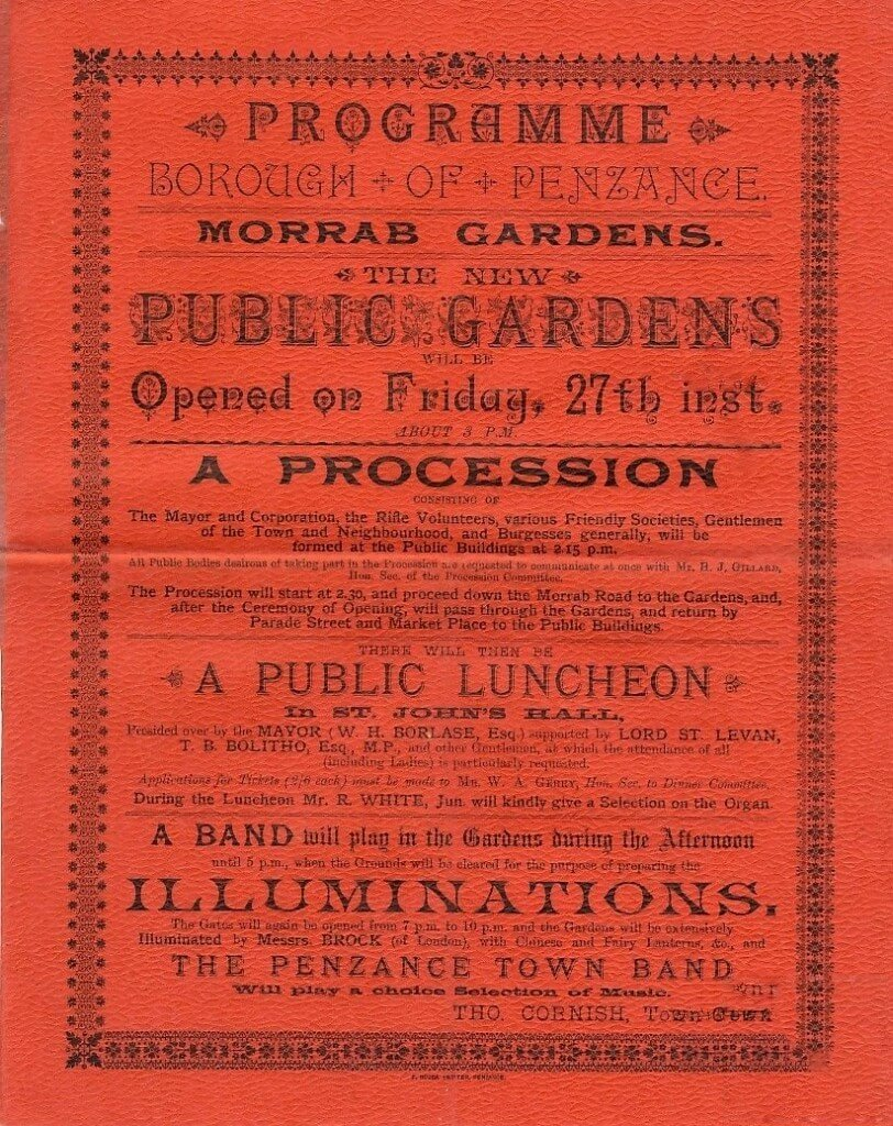 Programme for the opening of the Morrab Gardens, Penzance, September 27th, 1989