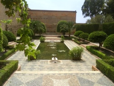 Fountain in the Islamic Paradise Garden of the Alcazaba of Almería, Spain.