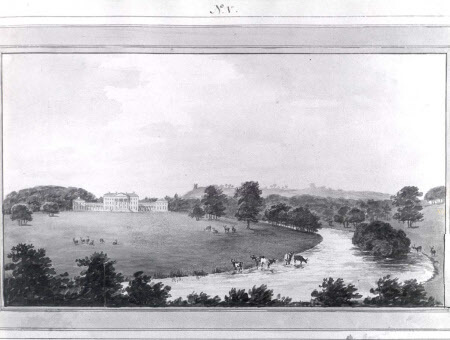 A Page from the Red Book by garden designer Humphrey Repton showing Attingham Park after remodelling