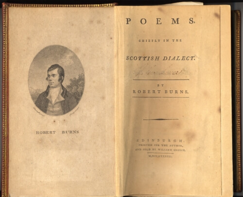 The frontispiece and title page of Robbie Burns' first published collection of poems